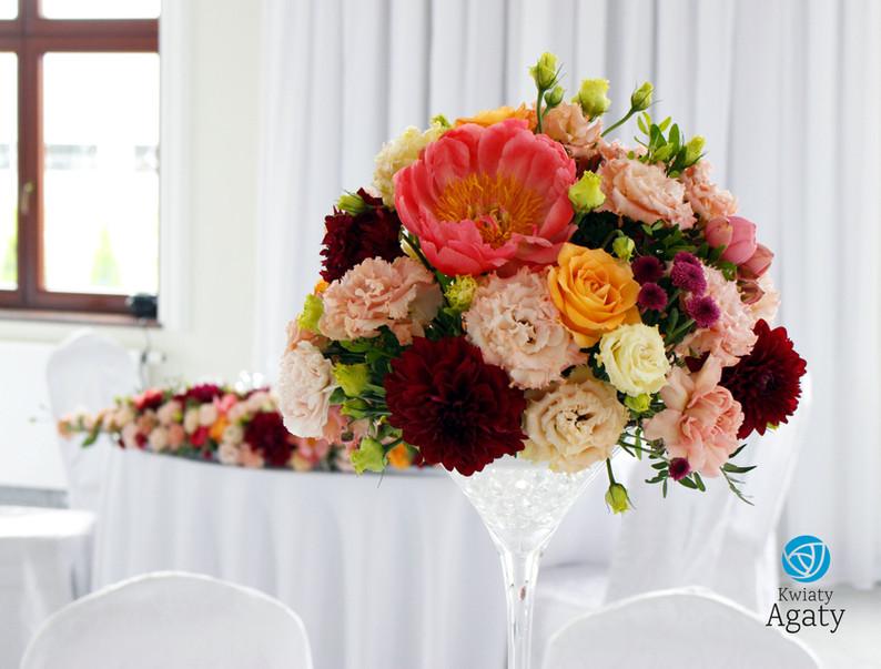 dekoracja kwiatowa na salę weselną