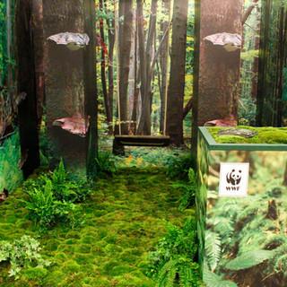 scenografia zielona z mchu