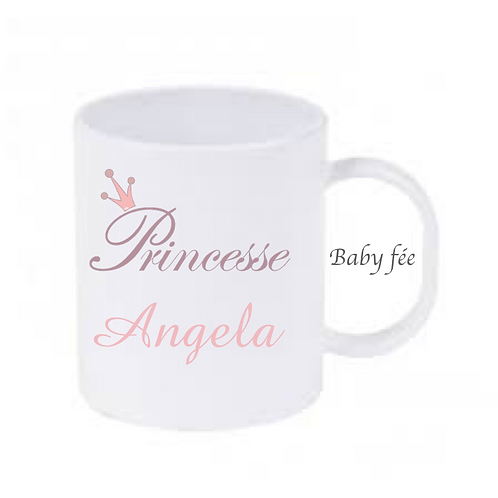 Tasse mug enfant incassable personnalisable - princesse