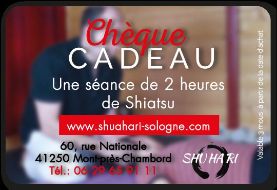 Votre chèque cadeau pour un shiatsu de deux heures chez Shuhari-Sologne