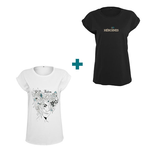 """Lot de 2 Tee-shirts femme """"Héroines"""" noir et blanc"""