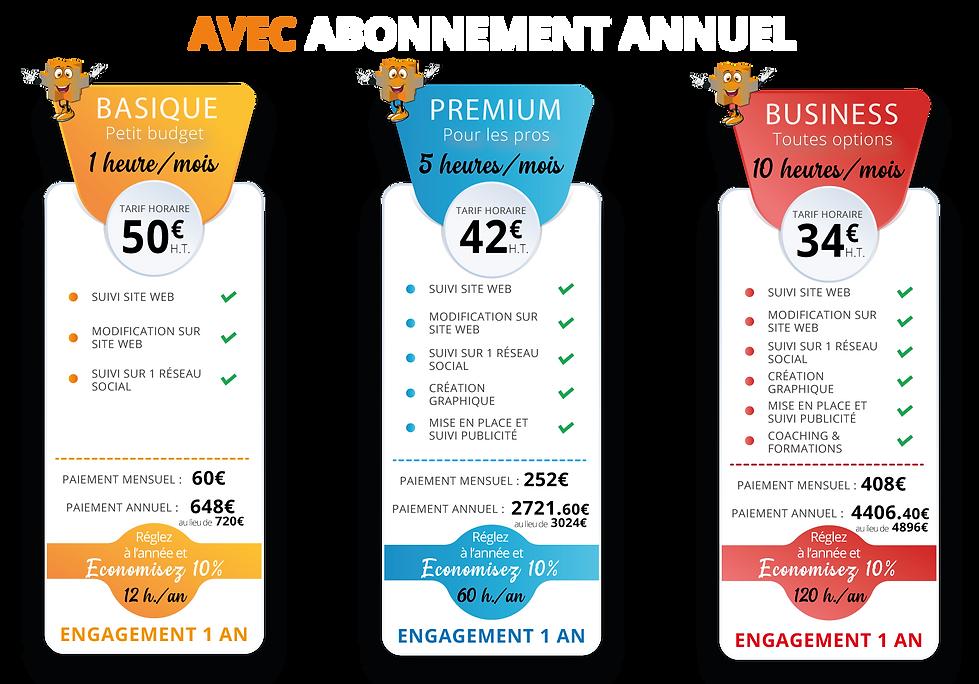 Tarif abonnement annuel valable jusqu'au 31/12/2021