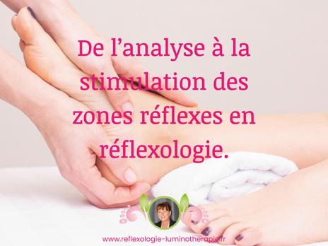 De l'analyse à la stimulation des zones réflexes en réflexologie.
