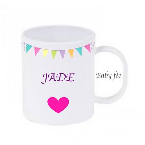 Tasse mug enfant incassable personnalisable - fanion multicolore