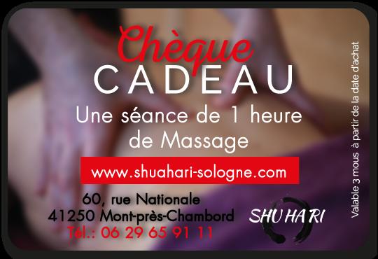 Votre chèque cadeau pour un massage d'une heure chez Shuhari-Sologne