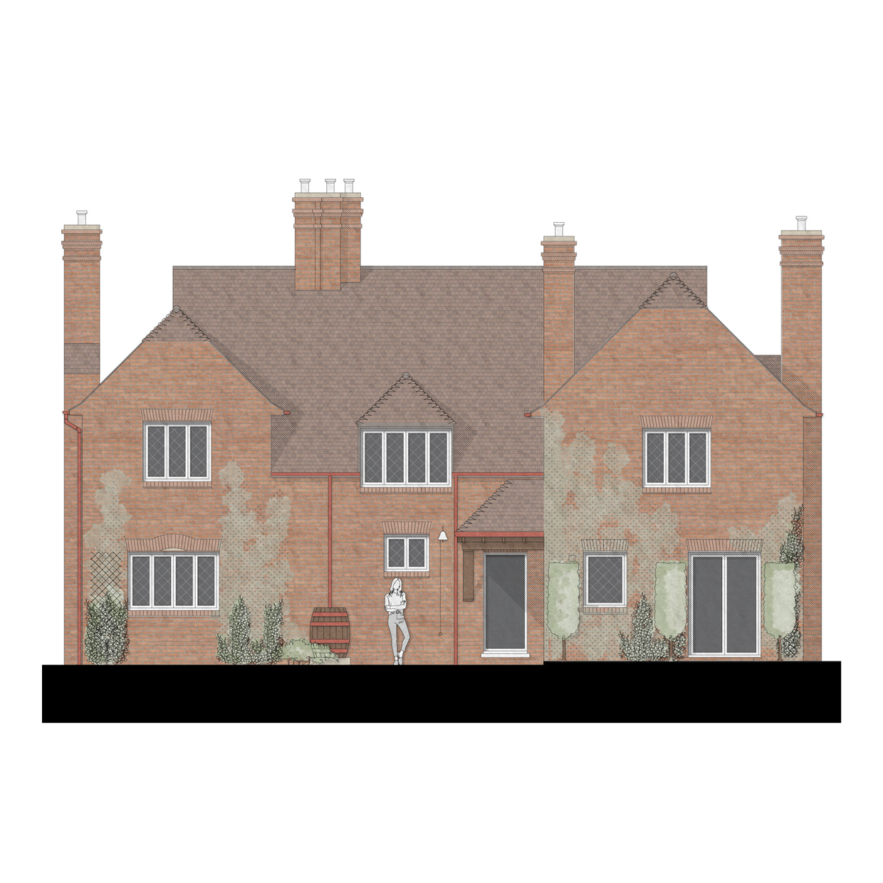Country Manor Rendered Front Elevation