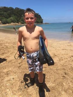 Cobey Herbert after the fin swim