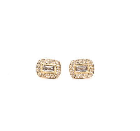 White Topaz Bars and Diamond Earrings