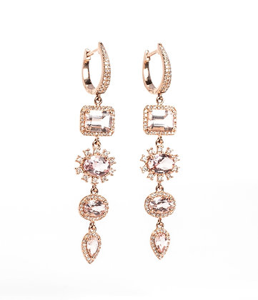 Moonstone Diamond Huggie Drops