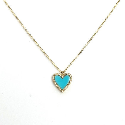 Turquoise Heart with Diamonds