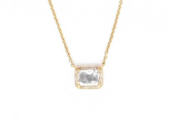 White Topaz and Diamonds Necklace