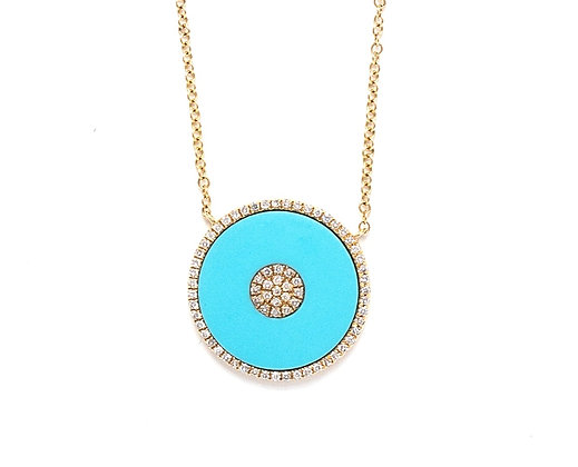 Turquoise Disc and Diamonds