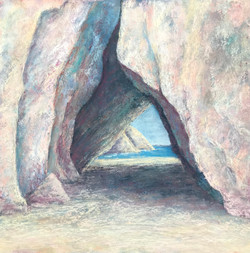 The slender glimpse of open sea