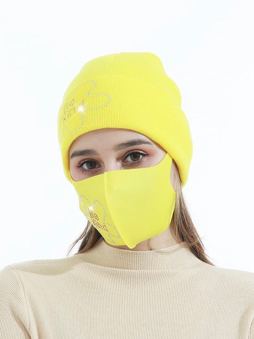 Be Kind Yellow Beanie w/ Face Mask