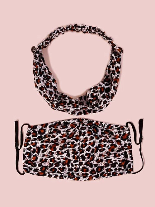2 Piece Leopard Face Mask & Headband