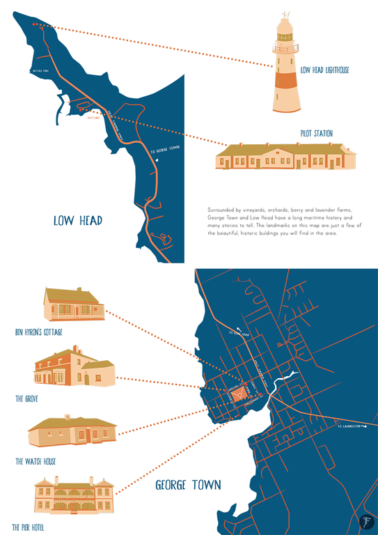 George Town & Low Head Map