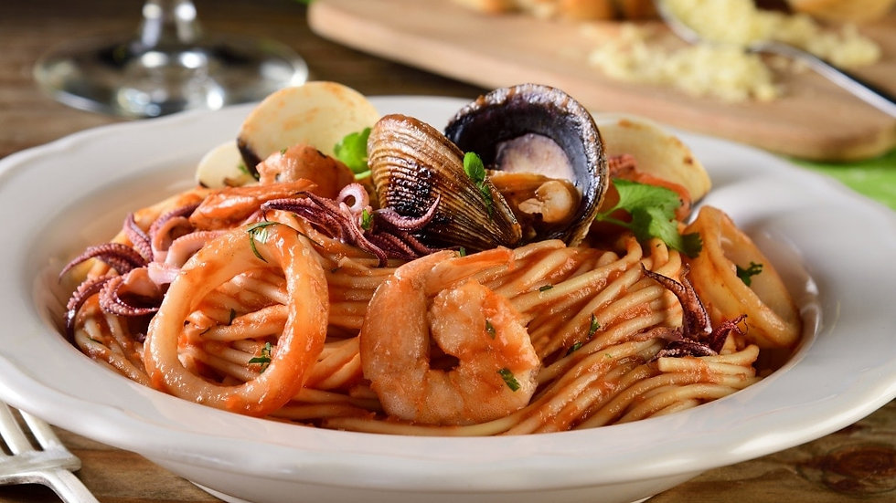 Spaghetti y Frutos  del Mar (Chef Oscar Alvarado)