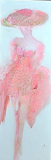 Rêverie Jeune femme aux ballons 20 x 60 cm (Dispo)  et Rose SOLD