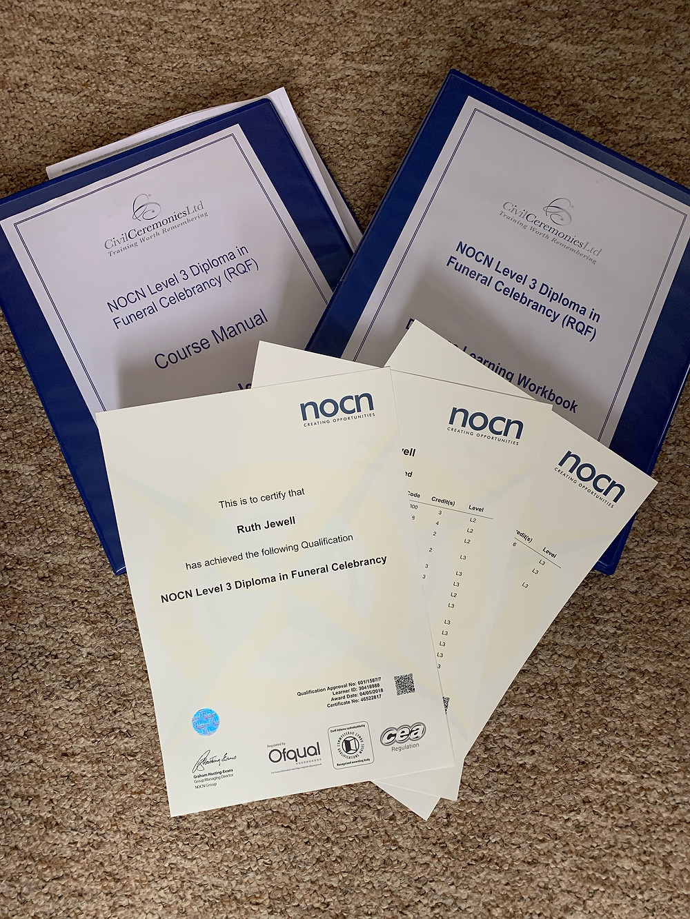 Civil Ceremonies Training folders and Certificate