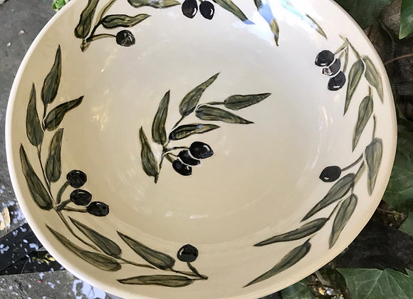 Serving Bowl: California Olive Motif