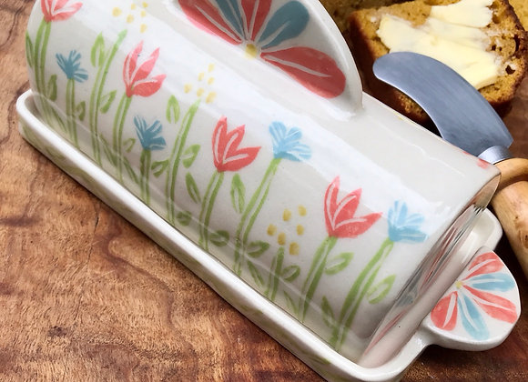 Covered Butter Dish: Flower Garden