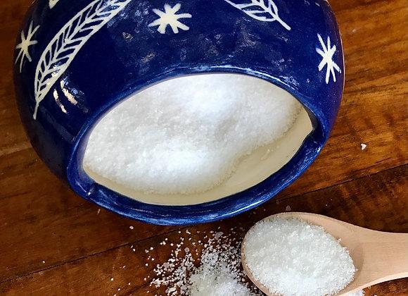 Salt Pig & Spoon: Cobalt with Feathers & Stars