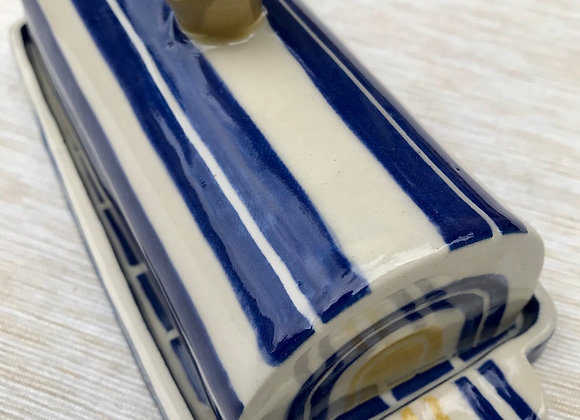 Covered Butter Dish: Cobalt and Lemon