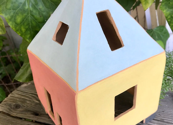 Stone House: blue roof/black chimney
