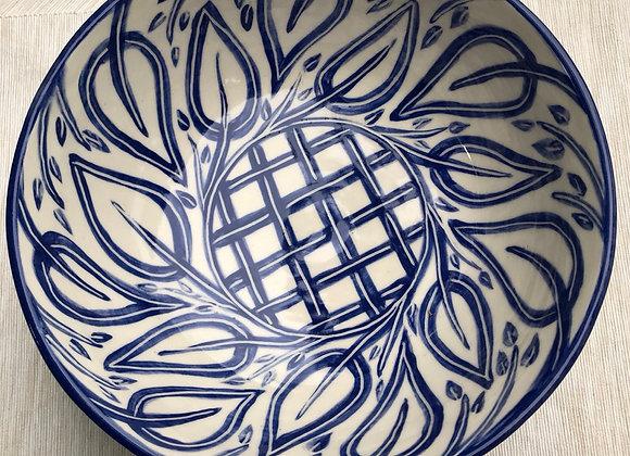 Bowl: Leaf and Vine in Cobalt