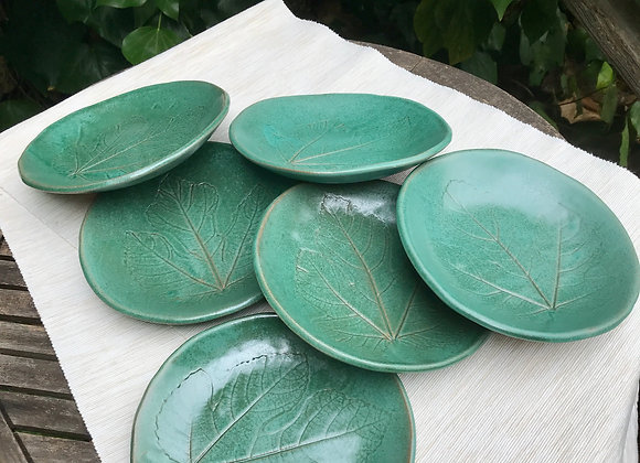Small Plates with Fig Leaf: set of 6
