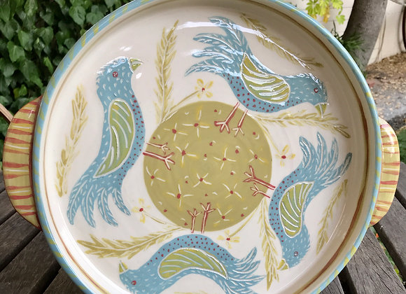 Bird & Seed Gratin Dish w/ handles