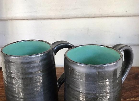 Mugs: Set of 2 in Laguna & Gunmetal