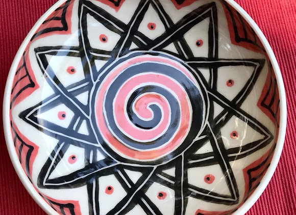 Small Bowl: Coral and Jet Geometric