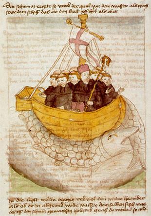 Le voyage de saint Brendan illustré par un manuscrit allemand du xve siècle.