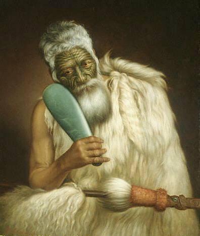 Guerrier Maori avec sa machette en jade