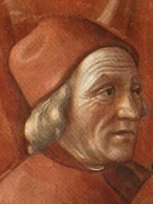 Marsile Ficin. Détail d'une fresque (1486-1490) de la chapelle Santa Maria Novella à Florence.