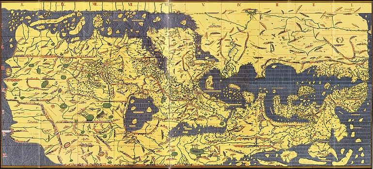 Les sept climat. Planisphère orienté le sud en haut extraite du « Livre de Roger » réalisé par le géographe Al Idrissi en 1154