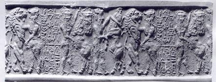 Sceau-cylindre décrivant Enheduanna comme une fille de Sargon le Grand