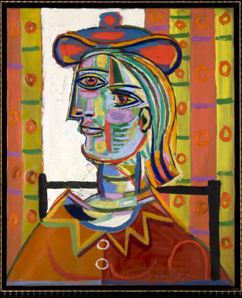 Pablo Picasso, Femme au beret et la collerette (Woman with Beret and Collar) (1937). © Estate of Pablo Picasso / Artists Rights Society (ARS) NY. Courtesy the Donald B. Marron Family Collection, Acquavella Galleries, Gagosian, and Pace Gallery.