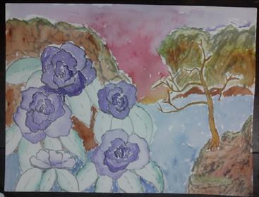 Purple Flowers Tree & Hills