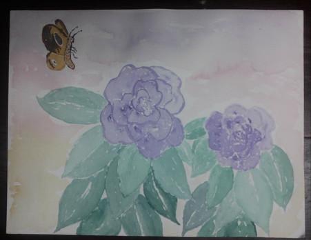 Purple Flowers Orange Butterfly
