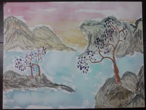 3 Purple Flower Trees