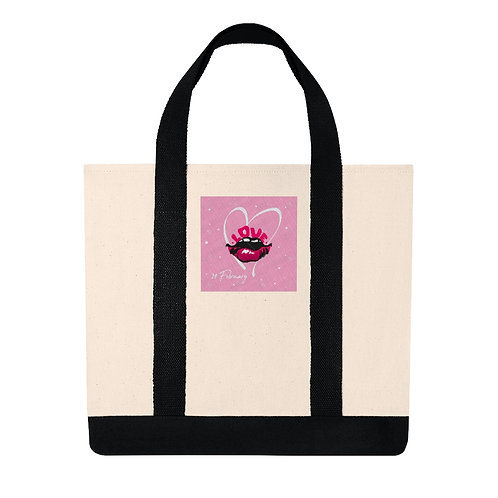 """RL Fashions Valentine's """"Wet Lips"""" Embroidered Tote"""