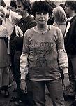 Marylou à la manif d'occupation du mouvement de Relocation Forcée le 12 juin 1981