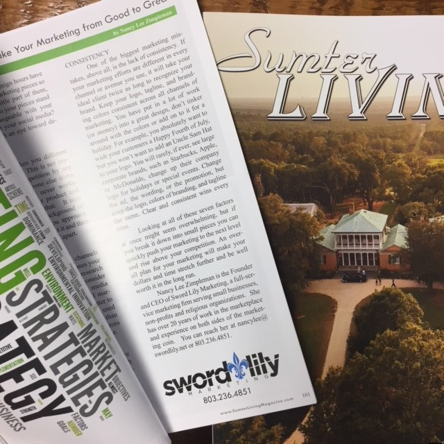 picture of the article in Sumter Living Magazine
