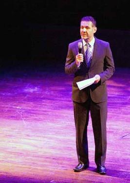 Khalid Hosseini introducing NPCH at Kennedy Center