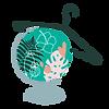 Mappemonde joliment décorée avec des fleurs et cintre de vêtements