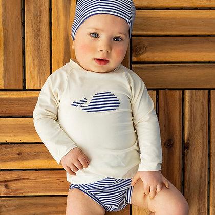 Combi couche piscine / T-shirt anti-UV Marin mousse (6-24M)