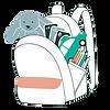 sac à dos d'enfant rempli de jeux à emporter en déplacement ou en voyage