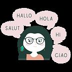 Organisatrice voyage avec bulles BD qui dit bonjour en plusieurs langues